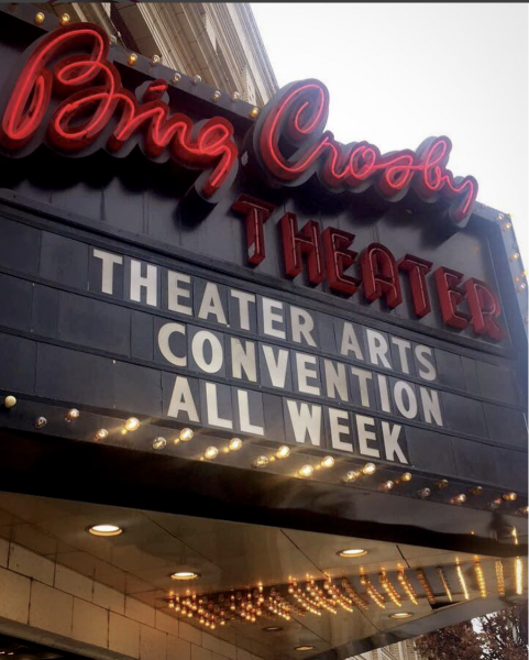 "Bing Crosby Theatre marquee says ""Theatre Arts Convention All Week"""